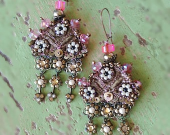 Pretty Pink & Gold Earrings, Beaded, Antique Embroidery, Gypsy Earrings, Bohemian Gypsy, Boho Earrings, Gorgeous