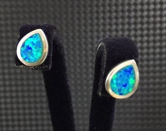 Blue Opal studs earrings, 6 x 9 mm silver studs, Opal earrings, 925 sterling silver opal studs, royal blue earrings, Gemstone Earrings