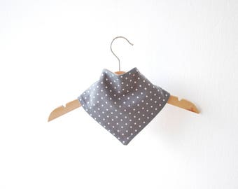 Scarf - grey white and pink dots