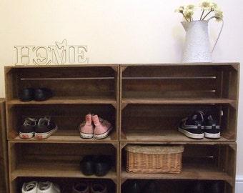 4 x Shabby Chic Wooden Shoe Racks Rustic Vintage Shoe / Display Shelf Apple Crate Shoe Storage