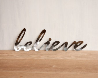 Mirror Word Wall Decor 'Believe' -  wall art, signage, typography, handwriting