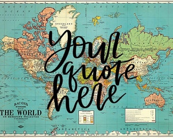 """CUSTOM Calligraphy, Hand-painted 20x28"""" Vintage World Map"""
