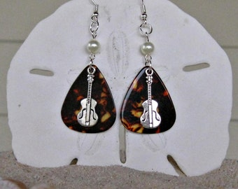 Guitar Pick Earrings with Guitar Charm