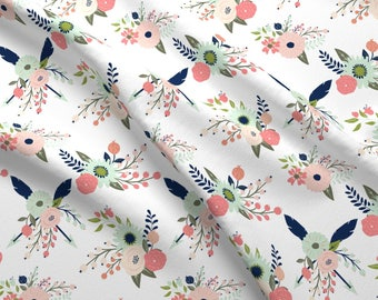 Mint + Blush Floral Fabric - Gracie Blooms Larger Scale By Graceandcruzdesigns - Baby Girl Flower Cotton Fabric By The Yard With Spoonflower