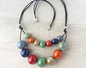 Ceramic and Leather Necklace