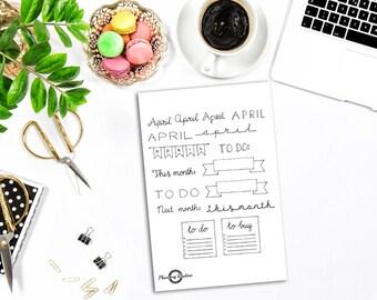 Monthly Planner Sticker Sheet, Monthly Banners and Titles, Planner Sticker Sheet, Handlettering Sticker sheet