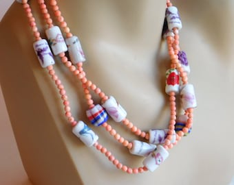 Vintage Pastel Ceramic Bead Necklace w/ Flowers, Gold Gilding - Artisan Made 1980s-90s - Small Coral? Beads - Boho Hippie Festival Wear