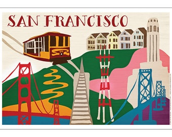 San Francisco Illustrated Artistic Collage Poster