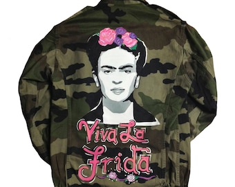 Pop Art. Painted Fatigue. Frida. Frida Kahlo. Kahlo. Army Fatigue. Parisian Army Fatigue. Artist Jacket. Wearable Art. Camo. Hand painted