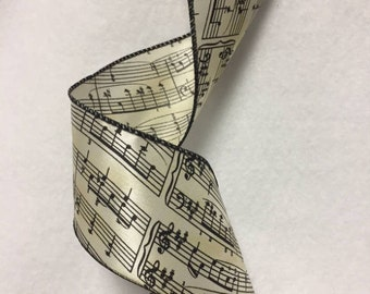 Satin Music Ribbon Wired Edge By The Yard 36 Inches Long