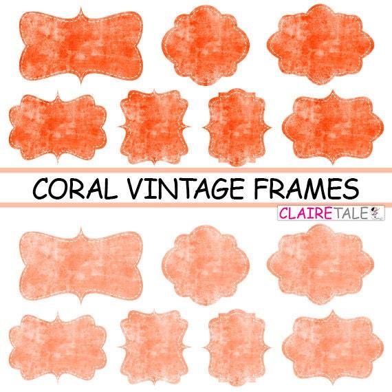 """Digital clipart labels: """"CORAL VINTAGE FRAMES"""" grunge clipart frames, labels, tags on vintage coral background"""