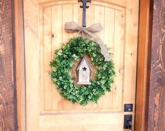 Summer Wreath-Door Wreath-BIRDHOUSE Wreath-BOXWOOD Wreath-SCENTED Boxwood Wreath-Home Decor-Year Round Wreath-Gifts-Housewarming Gift