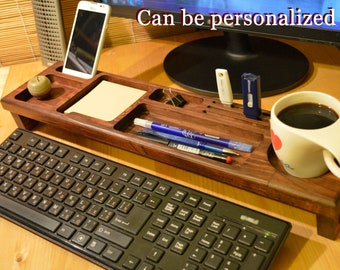 Gifts for him - Desk Organizer, Keyboard Rack, Wooden Desk Organizer For Him - Boyfriend Gift, Anniversary Gifts, Gifts For Men