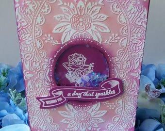 Floral Card, Shaker card, Pink Card, Birthday Card, Blank Card