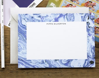 Periwinkle and Lavender Marble Custom Stationery Set / Flat Notes / Set (10) / A7 Size