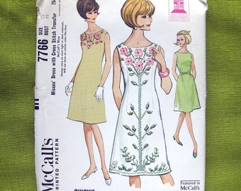 1965 Vintage Sewing Pattern - McCalls 7766 - Embroidered Sheath with Transfer for Cross Stitch / UNCUT FF Size 12