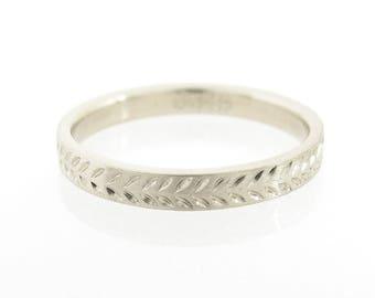 Wedding bands set, White gold wedding bands, Engraved wedding rings, Matching wedding rings, White wedding rings set, Classic wedding bands