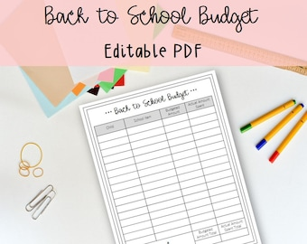 Back to School Budget Printable and Editable - Monthly Budget, Budget, Organize, Family Planner, Budget Binder, PDF, Printable