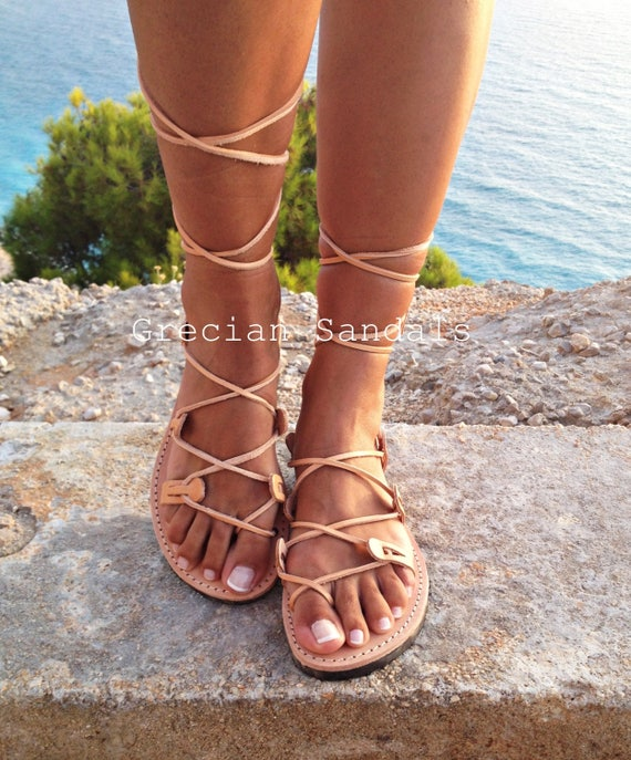 Leather Sandals Gladiator Sandals Greek Leather Lace Up
