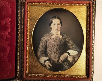 Beautiful Daguerreotype of a Young Lady Wearing Mourning Bands, 19th Century Antique Photo in Rare Leather Case