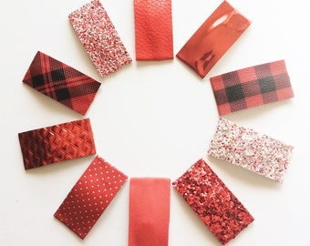 VALENTINE'S Day / HOLIDAY glitter/faux leather/ suede snap clip or alligator clip /RED/ ruby / mirror/dots / lace/ metallic