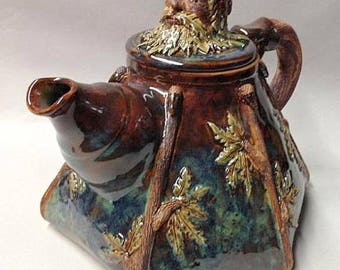 Green Man - Symbol of Rebirth (Spring) Teapot - Handmade Studio Pottery