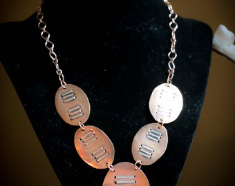 Hammered Copper Ovals with Sterling Silver Stripes Necklace