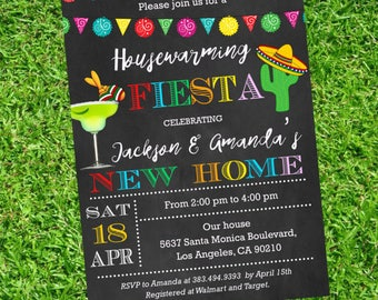 Mexican Fiesta Housewarming Invitation - Fiesta Housewarming invitations printable - Fiesta Mexican - DIY Party Invitation