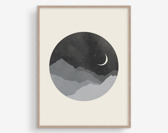 Bedroom Wall Art, Black White Print, Moon Print, Wall Decor Large, Mid Century Modern Art, Scandinavian Print, Living Room Wall Art