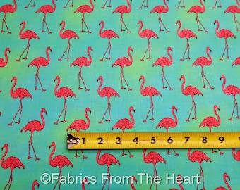 Pink Flamingo Birds Beach Divas on Cabana Blue BY YARDS Robert Kaufman Fabric