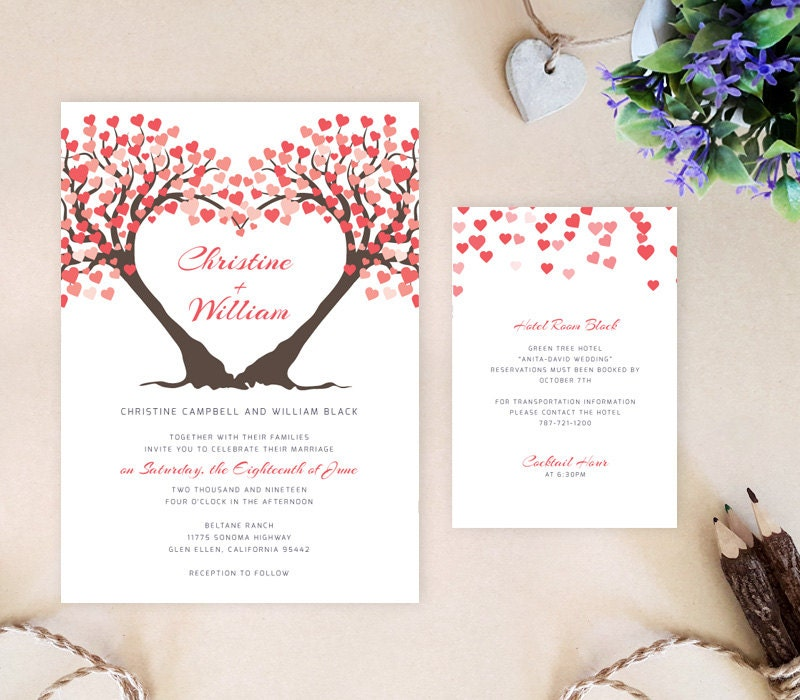 Heart tree wedding invitation reception card bundle printed