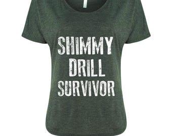 Cyber Monday Sale -  Buy 2 Get 1 Free Shimmy Drill Survivor Flowy Dark Grey Shirt