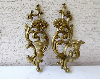 Pair of Vintage Wall Candle Sconces - Resin Sconces - Candle Holders - Hollywood Regency - Mid Century Modern - Syroco -