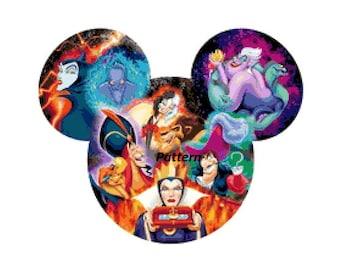 Disney Villains. Cross Stitch Pattern. PDF Files.