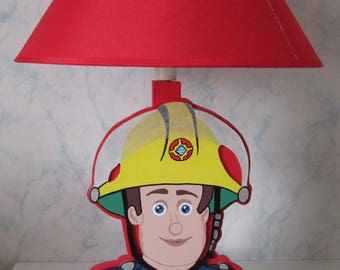 "Child lamp with wood ""the little firefighter"""