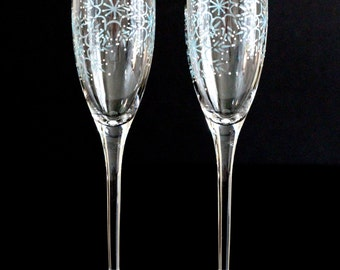 Winter Champagne Flutes, Snowflake Wedding Toasting Glasses, Bride Groom Mr. Mrs. Personalized Dated Custom Light Ice Blue White Dark Silver