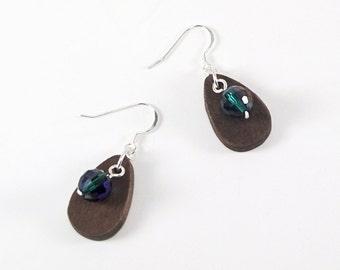 Emerald Crystal Earrings, Wood Dangle Earrings, Teardrop Earrings, Green Crystal Casual Earrings, Wood Earrings, Silver Earrings