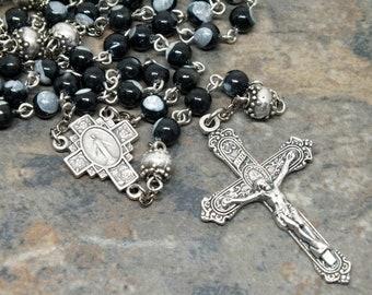 Natural Shell Rosary from Black Tahiti Pearl, 5 Decade Rosary, Catholic Rosary, Miraculous Medal, Black Rosary, Gemstone Rosary