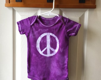 Peace Sign Baby Bodysuit (12 months), Peace Sign Baby Gift, Purple Peace Sign, Baby Shower Gift, Gender Neutral Baby Gift, Peace Baby Gift