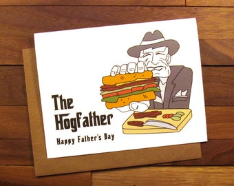 Funny Father's Day Card - The Godfather card with recipe for Pancetta Sandwich - The Hogfather - Fathers Day - Godfather Father's Day Card