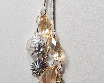Golden Shadow Light Yellow Swarovski® Crystals Sterling Silver Drop Necklace