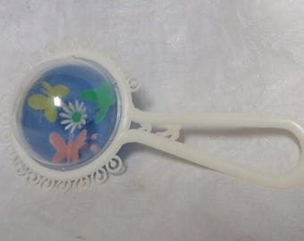 Vintage 60s Baby Rattle Plastic Butterflies Flower Birds Darling Sound Baby Shower Gift Decoration Shaker