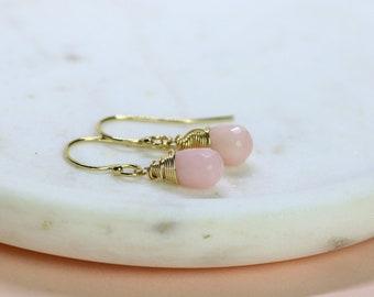 Pink opal earrings, October birthstone jewelry, dangle earrings, pink opal jewelry, October birthday gift - Sophie