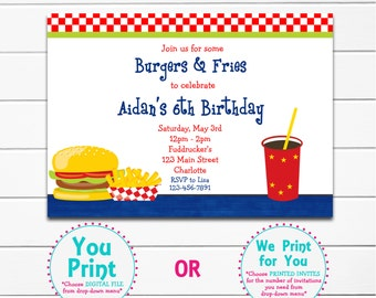 Burgers and Fries Birthday Party Invitation Hamburger Birthday Party Invitation