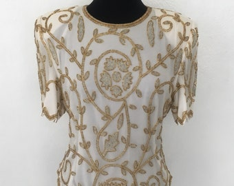White Blouse with Gold Embellishments