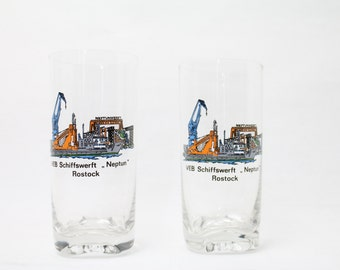 vintage drinking glass Rostock Neptun Werft nautical fish baltic sea GDR