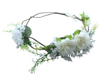 White flower crown etsy white flower crown flower girl flower crown bridesmaids flower crown mightylinksfo