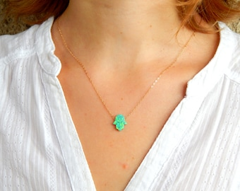 Green opal hamsa gold necklace spiritual hand charm  dainty gold necklace hamsa necklace minimalist delicate something green luck, 074