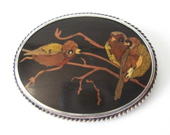Inlay Wood Brooch With Birds Sterling Silver Setting