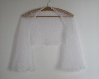 Bridal Cover Up, Loose Knit Shrug, Off White Bolero, Sheer Shrug, Bridal Bolero, Wedding Shrug, Pearl Beaded Bolero